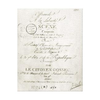 Cover for the score of 'Offrande a la Liberte' Canvas Print