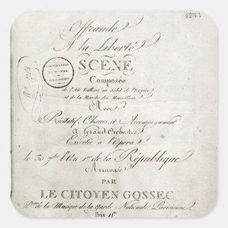 Cover for the score of 'Offrande a la Liberte' Square Stickers