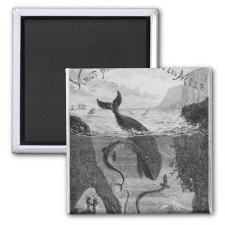 Cover Illustration '20,000 Leagues Under the Sea' Square Magnet