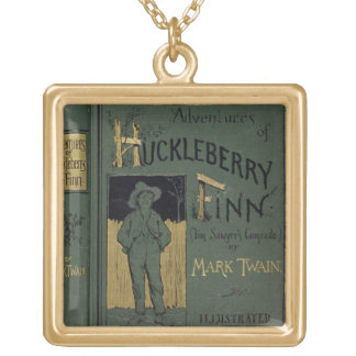 Cover of 'Adventures of Huckleberry Finn' by Mark Gold Plated Necklace