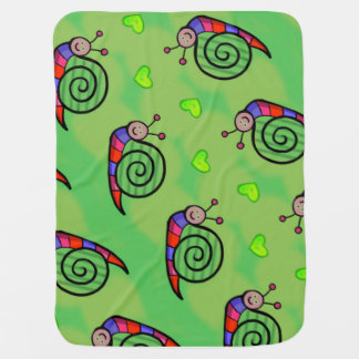 Cover of baby snail on green bottom baby blanket
