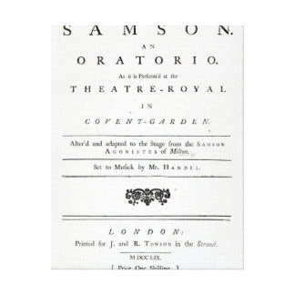 Cover of Sheet Music for Samson Canvas Print