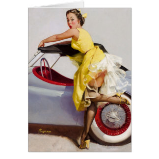Cover up retro pinup girl card