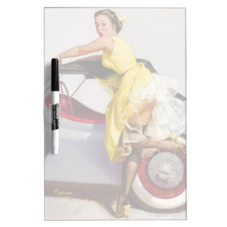 Cover up retro pinup girl dry erase board