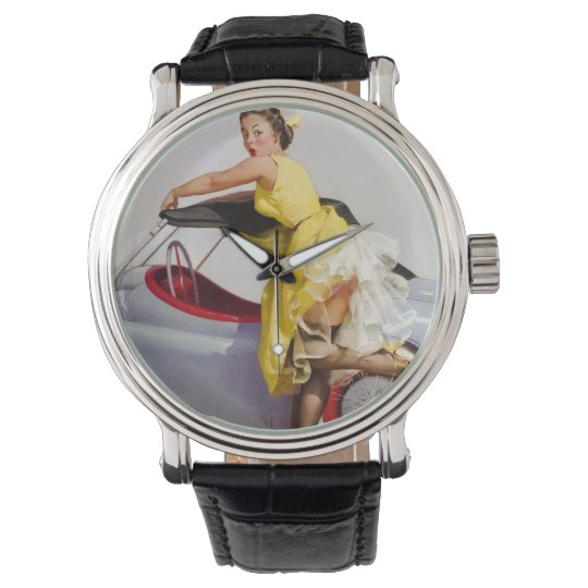 Cover up retro pinup girl watch