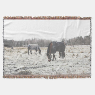 "Cover with fraying ""Swedish Horses"" 137x96,5 cm Throw Blanket"