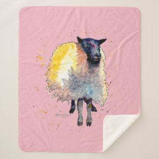 Cover with handpainted sheep sherpa blanket
