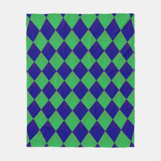 Cover with lozenge sample in blue and green fleece blanket
