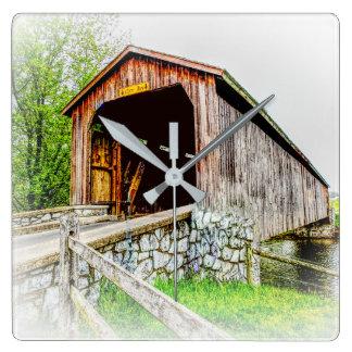 Covered Bridge Art - Square Clock