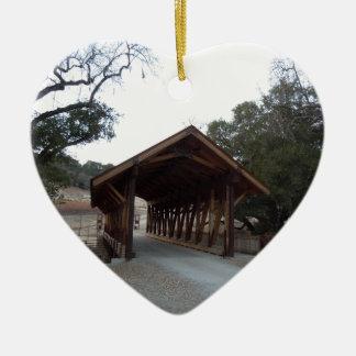 Covered Bridge at Halter Ranch, Paso Robles Ceramic Heart Decoration