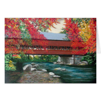Covered Bridge in Autumn's Bounty Note Card