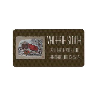 Covered Bridge & Sleigh Address Label