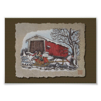 Covered Bridge & Sleigh Photograph