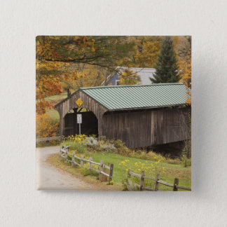 Covered bridge, Vermont, USA 15 Cm Square Badge