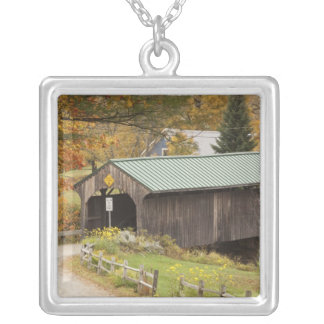Covered bridge, Vermont, USA Silver Plated Necklace