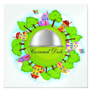 Covered Dish - Neighborhood Event - SRF 13 Cm X 13 Cm Square Invitation Card