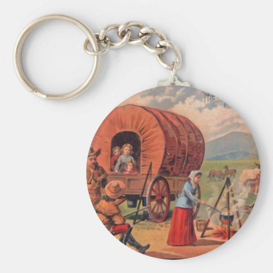Covered Wagon Basic Round Button Key Ring