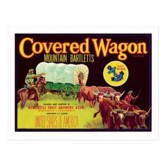 Covered Wagon Fruit Vintage Label Postcard