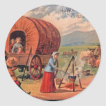 Covered Wagon Round Sticker