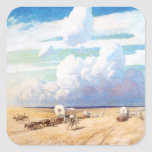 Covered Wagons by Wyeth, Vintage Western Cowboys Square Sticker