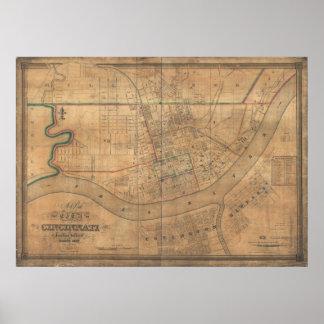 Covington Kentucky 1838 Antique Panoramic Map Poster