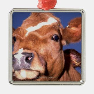 cow 2 Silver-Colored square decoration