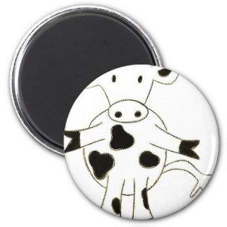 Cow 6 Cm Round Magnet