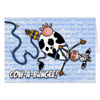 cow-a-bungee - success on your jump greeting cards