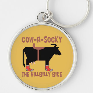Cow-A-Socky The Hillbilly Bike Key Chain Silver-Colored Round Keychain