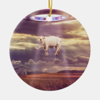 Cow Abducted by Aliens Fantasy Art Round Ceramic Decoration