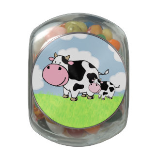 Cow and Baby Jelly Belly Candy Jar