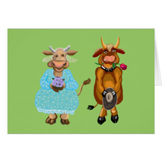 Cow and bull wedding card