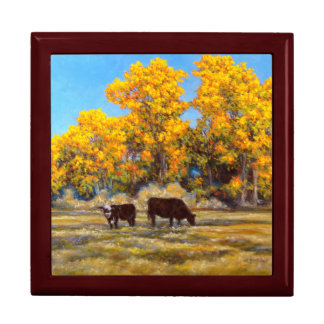 Cow and Calf in Golden Fall Trees Keepsake Box