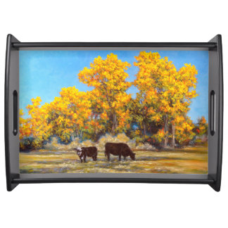Cow and Calf in Golden Fall Trees Serving Tray