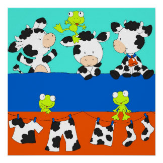 Cow and frog laundry day. poster