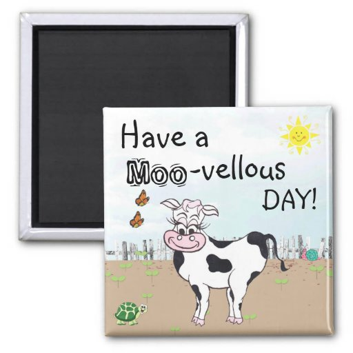 Cow and Little Critters - Fridge Magnet Magnets