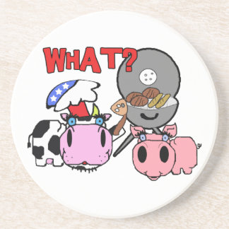 Cow and Pig Schnozzles Barbecue BBQ Cartoon Beverage Coaster