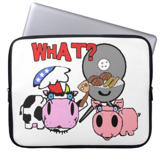 Cow and Pig Schnozzles Barbecue BBQ Cartoon Computer Sleeve