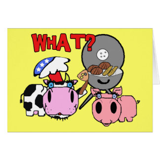 Cow and Pig Schnozzles Barbecue BBQ Cartoon Greeting Card