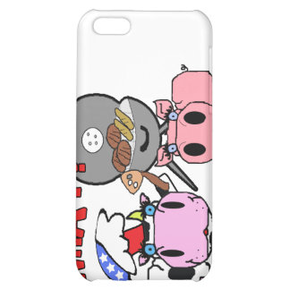 Cow and Pig Schnozzles Barbecue BBQ Cartoon Case For iPhone 5C