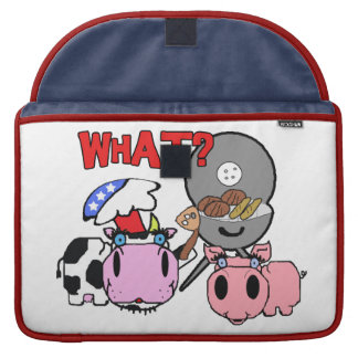 Cow and Pig Schnozzles Barbecue BBQ Cartoon Sleeves For MacBook Pro