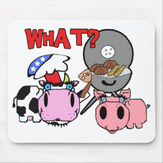 Cow and Pig Schnozzles Barbecue BBQ Cartoon Mouse Pad