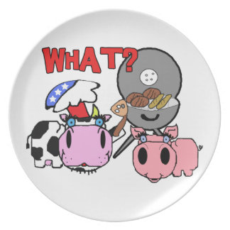 Cow and Pig Schnozzles Barbecue BBQ Cartoon Plates