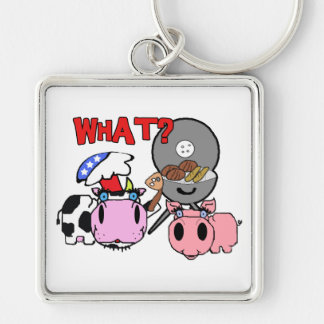 Cow and Pig Schnozzles Barbecue BBQ Cartoon Silver-Colored Square Key Ring