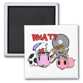 Cow and Pig Schnozzles Barbecue BBQ Cartoon Square Magnet