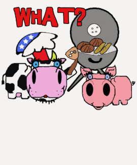 Cow and Pig Schnozzles Barbecue BBQ Cartoon Tees