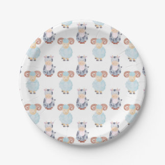 Cow and Sheep Pattern Paper Plate