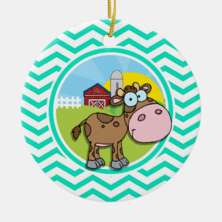 Cow; Aqua Green Chevron Double-Sided Ceramic Round Christmas Ornament