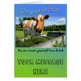 Cow at trough Birthday Card