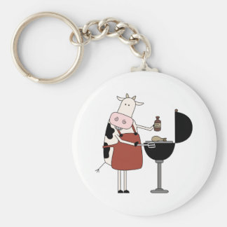 Cow Barbeque Tshirts and Gifts Basic Round Button Key Ring